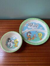 Zak Designs Looney Tunes Baby Daffy Tweety Bugs Bunny Sylvester Bowl/Plate Set