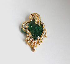 Smaragd und Diamant Anhänger in 750/18K Gelbgold, seltene Blatt Gravierung