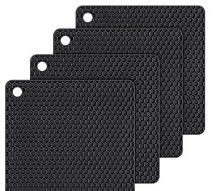 1 x Black Non-slip Heat Resistant Silicone Kitchen Trivet mat Pan Hot Pot Holder