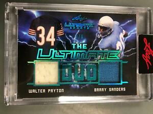 Walter Payton/Barry Sanders 2021 Leaf Ultimate Sports Duo Jersey #3/6 Bears T17