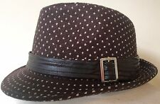 BNWT Brown Trilby Hat with Faux Leather Buckled Band Headwear