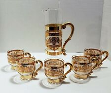 Mid Century Modern Martini Set with Pitcher and 5 Low Ball Glasses with Handles