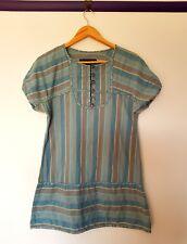 Marc jacobs womens size M blue striped bubble mini tunic shirt peasant dress