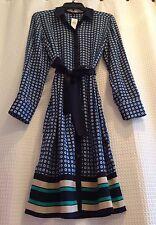 NWT! $139 Ann Taylor~Signature Blue Green Bow Tie Belt Button Shirt Dress~Medium