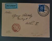 1927 Germany Breslau Gliwice Vienna to Austria First Flight Air Mail Cover