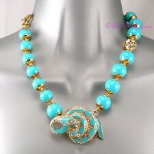 Turquoise Bead Enamel Snake Serpent T-bar Statement Necklace w Swarovski Crystal