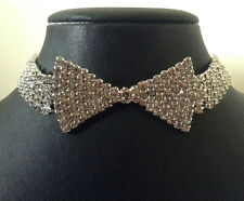 LADIES DIAMANTE BOW TIE CHOKER NECKLACE RHINESTONE COSTUME JEWELLERY