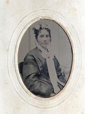 African American Mixed Beauty Civil War Era Tintype Sleeve Flowered Bonnet