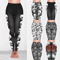 Damen Yogahose Leggings Hohe Taille Drucken Hosen Fitnessstudio Sporthose G/S