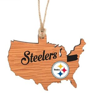 Pittsburgh Steelers Christmas Tree Holiday Ornament Logo State Wooden Nation USA