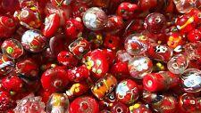 LAMPWORK Glass Bead Mix 50g Red Mix Jewellery Making
