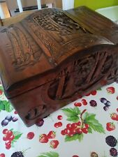 More details for vintage chinese camphor medium size wood chest beautiful carving