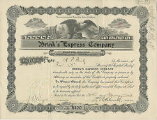 CALIFORNIA 1913, Brink's Express Co. Stock Certificate #40 Signed by 3 Brinks