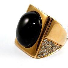 Huge Black Diopside & Diamond Dome Shape Fashion Ring Band 18k Rose Gold 29.47Ct