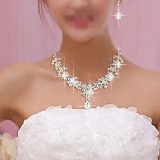 Bridal Wedding Rhinestone Crystal Cubic Necklace Earrings Jewelry Set Prom W1