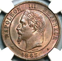 1863-A NGC MS 64 France 10 Centimes Napoleon III Mint State Coin (19090904C)