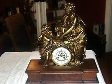 HUGE Figural French Clock Open Escapement Burl Stand Teacher and Student Detail