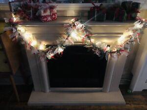 Handmade Christmas Rag Garland, With Ice white  Lights.