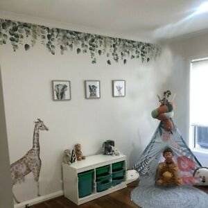 Removable Wall Stickers Nursery Green Foliage Leaves/Hanging Vines Decor DIY
