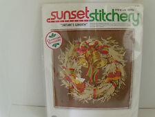1978 Sunset Stitchery Christmas Keepsake Natures Wreath Embroidery Kit #2080