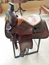 """Vintage Western Horse Saddle 16"""" Made by Texas Saddlery Bastrop Texas With Cover"""