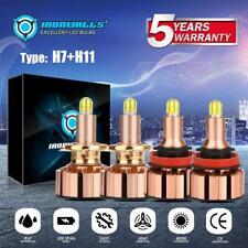 6Sides Combo H7 + H11 LED Headlight Bulbs 2000W 300000LM 6500K High Bright Beam