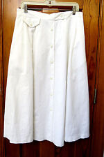 WHITE FULL COTTON SKIRT BUTTON FRONT ELASTIC WAIST SIZE 32/18W by BOSTON CLASSIC