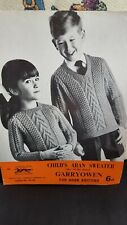 "No:28 Garryowen Childs Sweater in Aran size 22""- 28"" Knitting Pattern"
