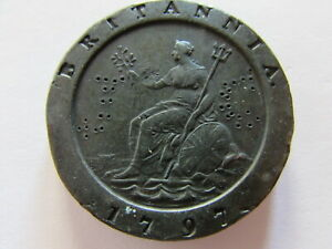1797 Great Britain 2 Pence Thick Coin United Kingdom Large 2 Penny Coin KM #619