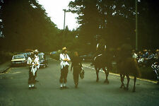 Vintage Slide Negative : Group of Dancers, Horse Riders and cars On Road, people