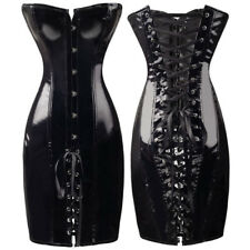 Latex Faux Wet Look Glossy Black Corset Dress Lace Up Back Clasp Front Boned UK
