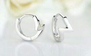 925 Sterling Silver Women's Girl's Lightning Bolt 12mm Huggie Hoop Earrings