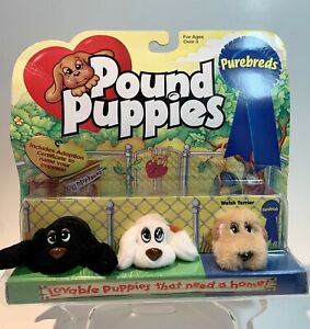 Vintage Pound Puppies Purebreds Mini Lot Of 3 (unopened) Welsh Terrier + Beagle?