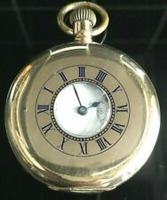 WALTHAM HALF HUNTER  GOLD PLATED POCKET  1908 WORKING PERFECT