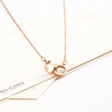 Women's 18K Rose GOLD Filled Cute little Linked Heart Rings Pendant Necklace