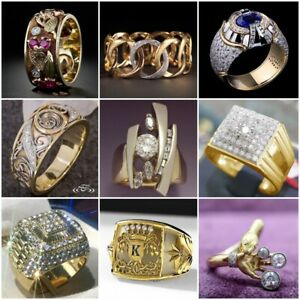 Fashion 18K Yellow Gold Filled White Sapphire Ring Women Men's Wedding Jewelry