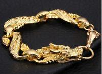Dragon Head Gold Link Bracelet Dragon Wolf Fenrir Viking Norse Chinese Bangle UK