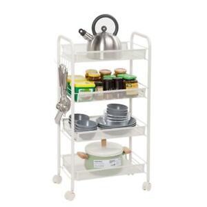 4-Tier Metal Mesh Rolling Cart Kitchen Utility Trolley Storage w/Lockable Wheels