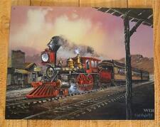 Steam Engine Locomotive Train Railroad Picture Tin Poster Sign Western Plaque