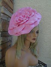 d733080d Large pink Kentucky Derby church dress formal floral big tea ascot hat