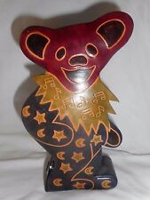 Grateful Dead Leather piggy Bank Dancing Marching Bear Made in India