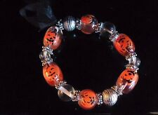 Halloween Pumpkin Bead Bracelet Orange Silver & Clear Beads Black Bow & Stars