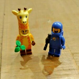Lot of 2 Lego Movie Minifigures Giraffe Guy 71023 and Space Guy Benny 70818