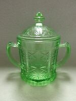 *Scarce* Hazel Atlas X Design (Colonial Block) Green Vaseline Covered Sugar Bowl