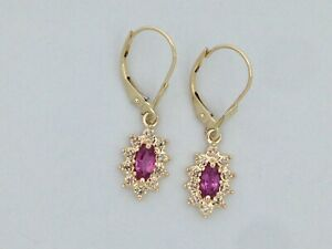 Natural Pink Sapphire with Diamond Dangle Earrings in Solid 14kt Yellow Gold
