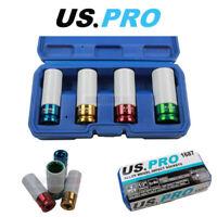 "US PRO Tools 4PC 1/2"" DR Alloy Wheel Impact Sockets 1687"