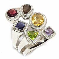 Citrine, Multi Gemstone Natural Gemstone 925 Sterling Silver Ring Size 8 R-126