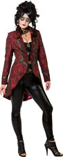 Ladies Red Steampunk Jacket Coat Victorian Fancy Dress Costume Outfit UK 10-20
