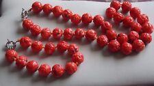 """Fabulous Humongously Large Chunky Chinese """"coral"""" bead necklace & Bracelet Set"""