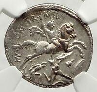 Roman Republic 55BC Mars Horse Warrior Defeats Gaul Enemy Silver Coin NGC i76851